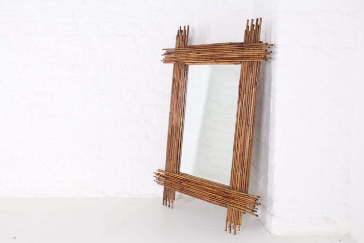 Grand miroir bambou
