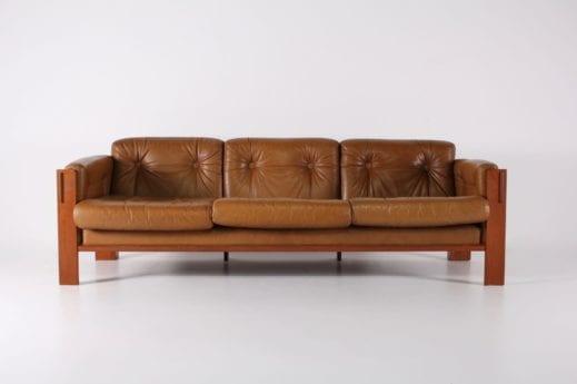 Canapé 3 places en cuir cognac JYDSK Danemark