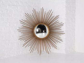 Grand miroir soleil convexe en tôle dorée