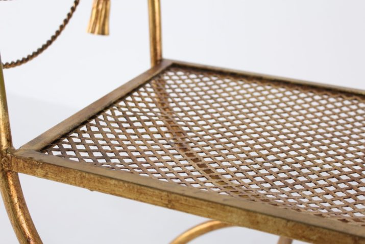 Fauteuil curule en métal doré