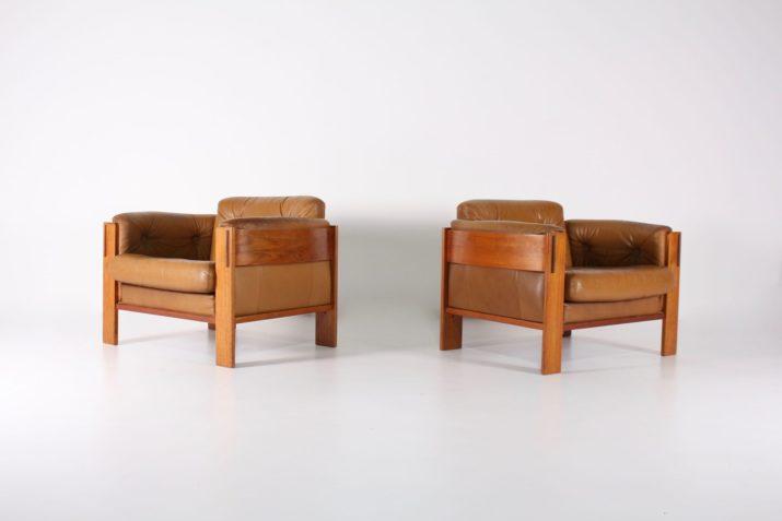 Deux fauteuils en cuir cognac JYDSK Danemark