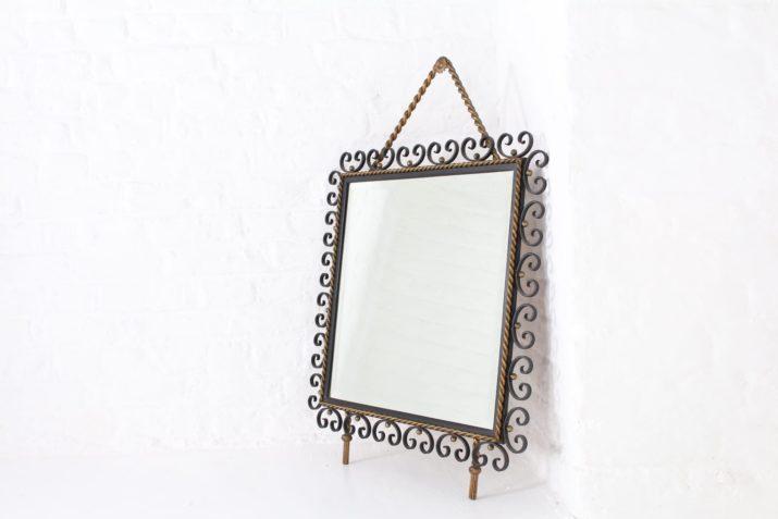 Miroir biseauté en fer forgé style Poillerat