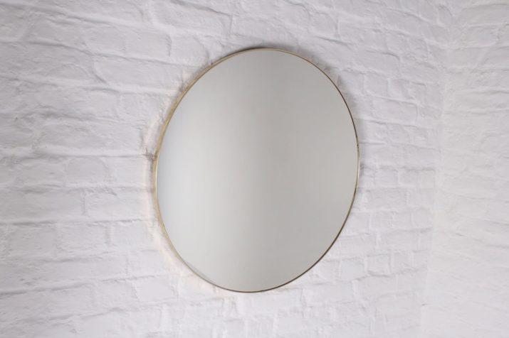 Grand miroir rond contour doré