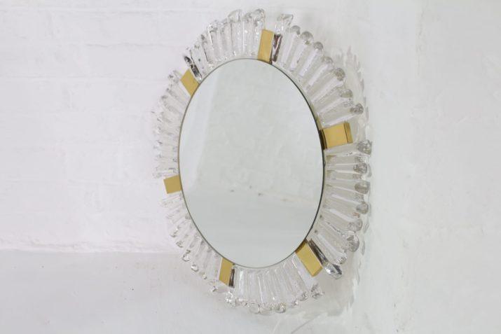 Miroir soleil lumineux en cristal & laiton