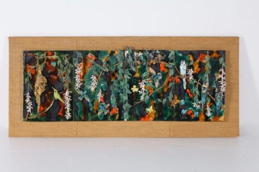 Composition murale aux oiseaux en céramique 1977