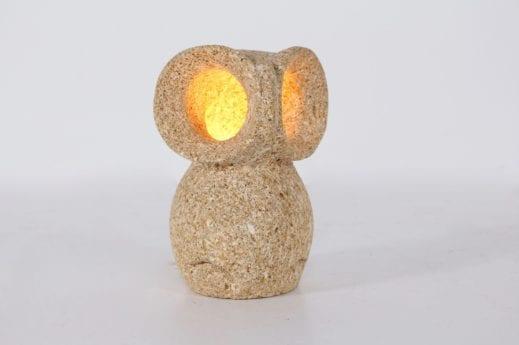 lampe hibou en pierre