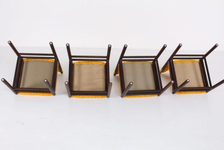 4 chaises en wengé massif 1960s
