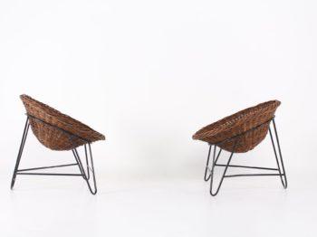 Paire de fauteuils osier style Mathieu Matégot