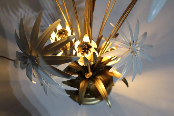 Lampadaire Hollywood Regency fleurs d'or