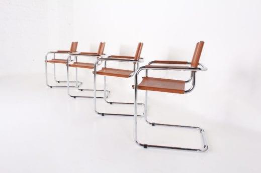 4 chaises cantilever cuir cognac