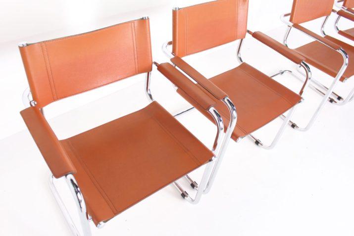 4 chaises cantilever cuir cognac ***OPTION***