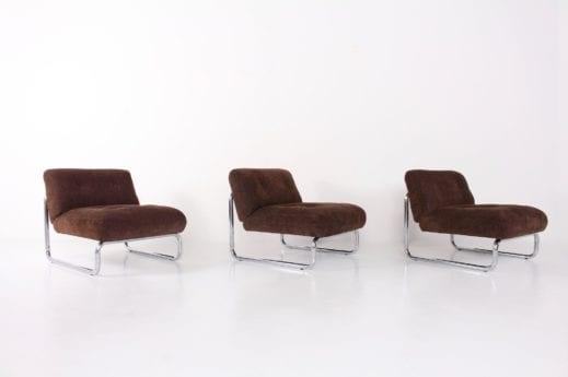 3 fauteuils en velours 1970's