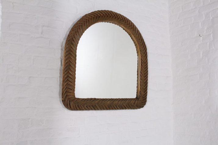 Miroir trumeau en rotin