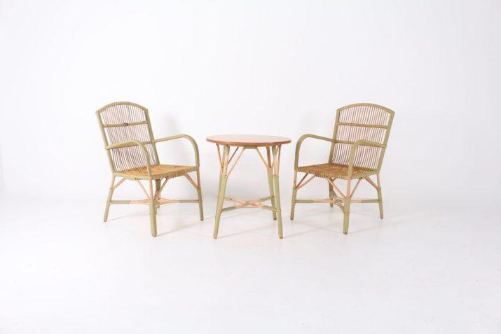 2 fauteuils et une table Belle Epoque en bambou/rotin