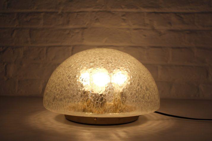 Lampe dôme en verre bullé
