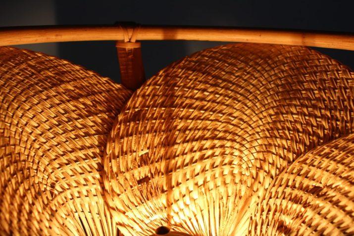 Lampadaire en bambou style Uchiwa