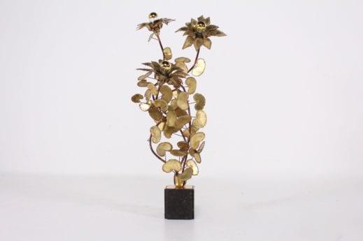 Lampe fleurs en laiton & cuivre Hollywood Regency ***OPTION***