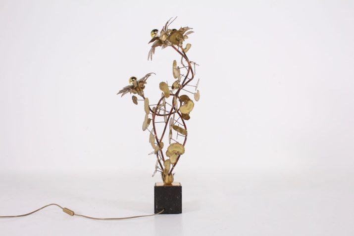 Lampe fleurs en laiton & cuivre Hollywood Regency