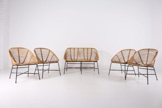 4 fauteuils et 1 banquette en bambou***OPTION***