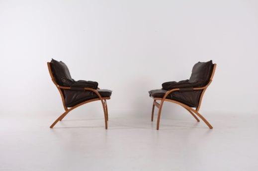 2 fauteuils relax danois en cuir