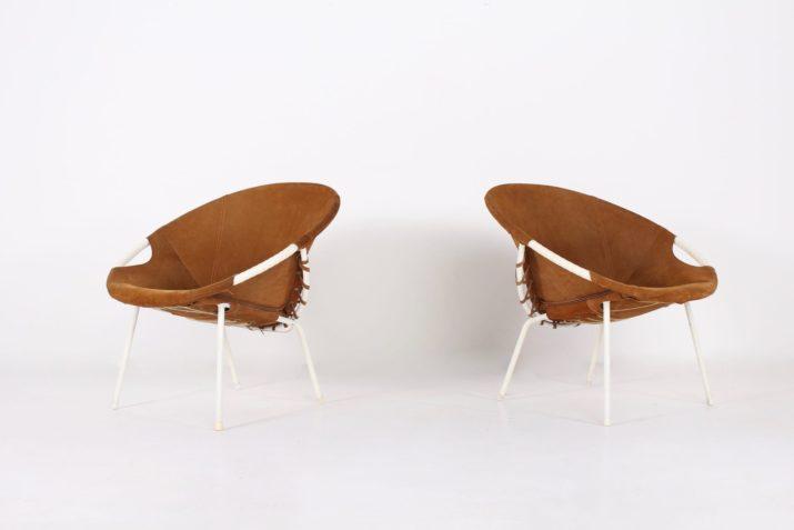 Paire de fauteuils Circle en cuir