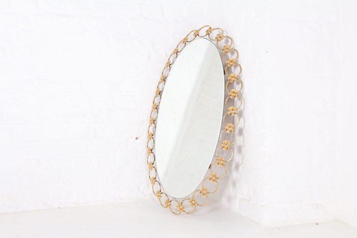Miroir ovale doré Hollywood Regency