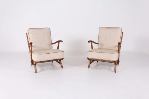 Paires de fauteuils années 50