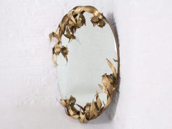 Miroir mural, décor végétal.