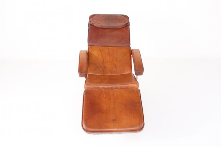 Chaise longue à bascule en cuir cognac
