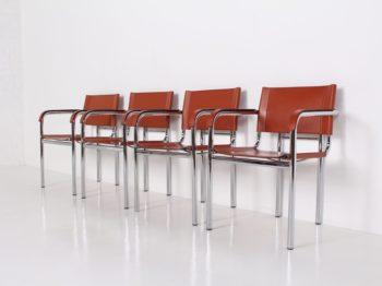 4 chaises italiennes en cuir cognac