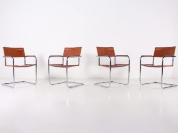 4 chaises Cantilever cuir cognac Matteo Grassi.
