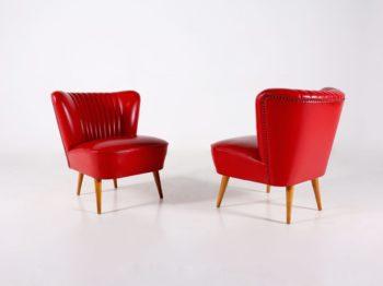 Paire de fauteuils cocktail rouge