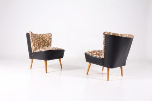 Paire de fauteuils cocktail tissus broché