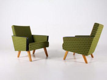 Paire de fauteuils clubs en tissu vert