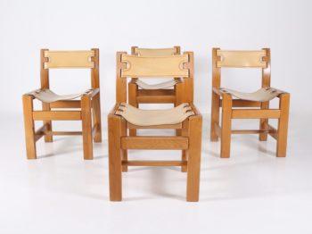 4 chaises en orme et cuir, Maison Regain