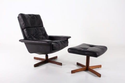 Fauteuil lounge norvégien pivotant & basculant en cuir noir