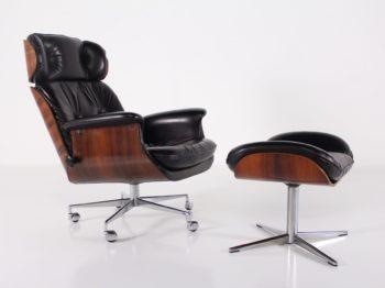 Lounge chair & Ottoman en cuir et palissandre