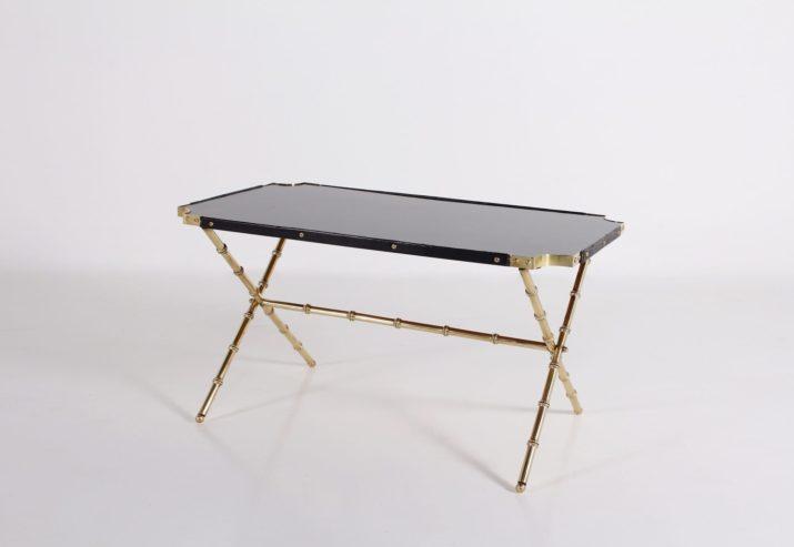 Jacques Adnet, table basse façon bambou.