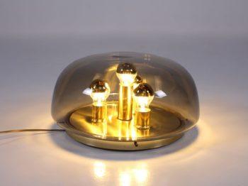 Lampe dôme en verre soufflé et laiton