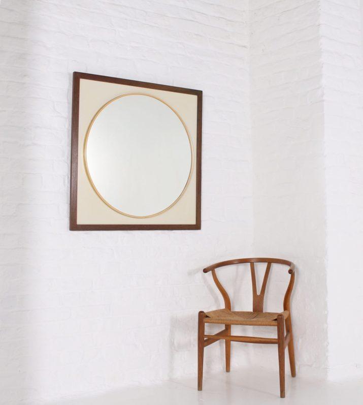 Miroir rond encadré wengé