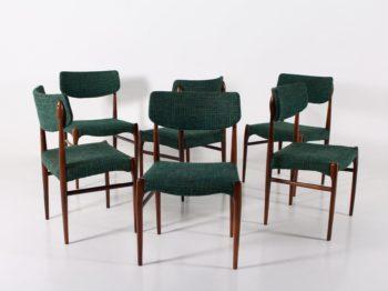 6 chaises danoises en palissandre.