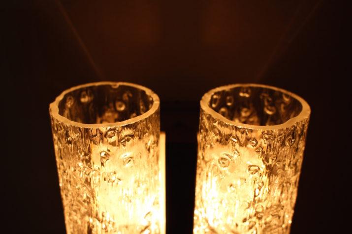 Paire d'appliques tubulaires en verre