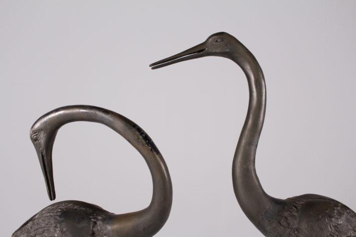 Couple d échassiers en bronze (H 106 cm)