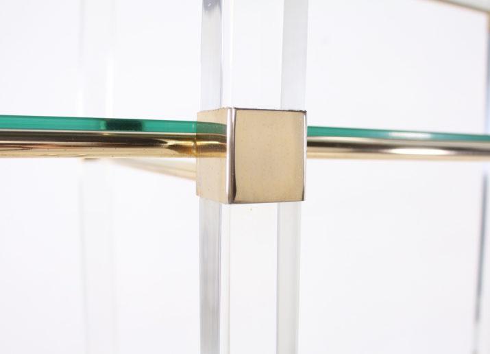 Etagère Claustra plexiglass & laiton, Charles Hollis Jones