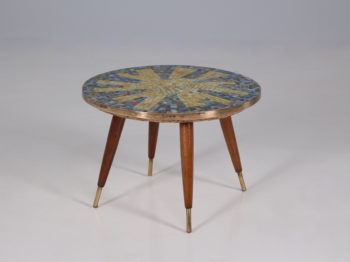 Table basse sellette en mosaïque & laiton