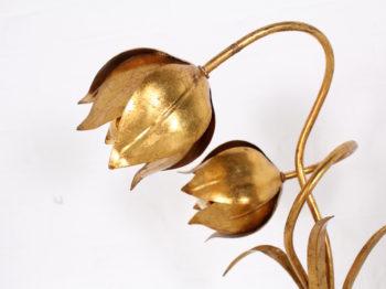 Lampe fleurs dorées Hans Kögl