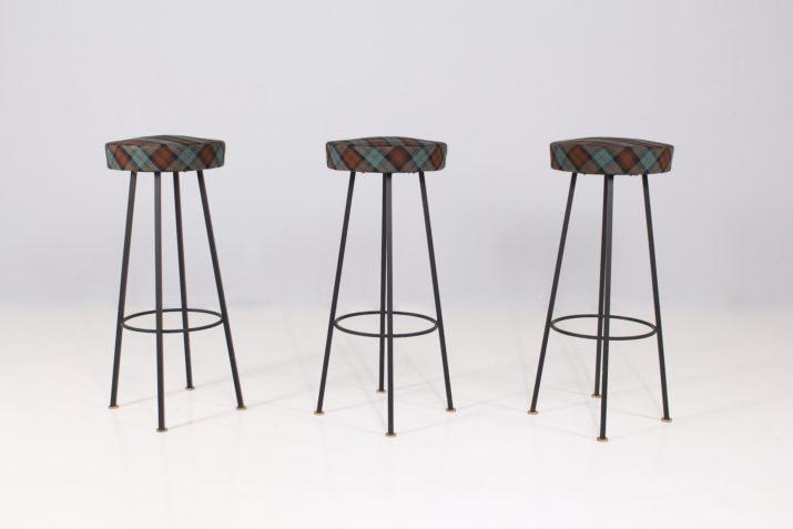 3 tabourets de bar 1950s.