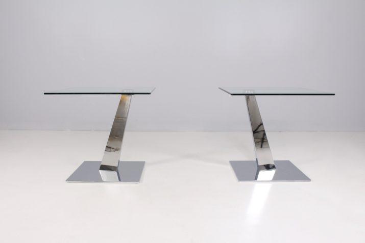 Bouts de canapé en verre et chrome, Naos Italy.
