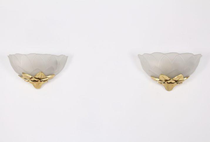 Paire d'appliques Lotus en bronze Lucien Gau